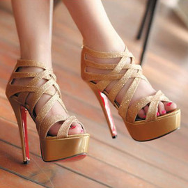 fashion - Image of  [grzxy619002830Gold Silver Gladiator Caged Ultra High Stiletto Heel Sandal Pumps
