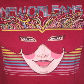 vintage 80s NEW ORLEANS T-Shirt SMALL mardi gras neon tourist rainbow soft thin