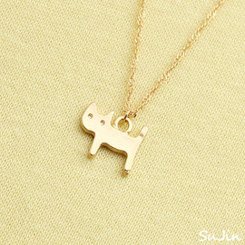 Matte Kitty Cat, Gold Plated, Necklace