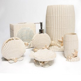 Ivory Sea Shell Hand Crafted Bath Accessory Collection - シェルバスセット