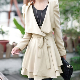 Elegant Beautiful Sash Bowknot Lapel Trench Coat
