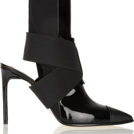 Reed Krakoff - Cutout leather and neoprene ankle boots