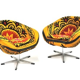 found object - Set of 2 Mira Suzani Upholstered Chairs