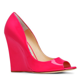 JIMMY CHOO - Neon Color Wedge Peep Toe