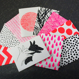 Image of SET OF 10 HANDPRINTED CARDS