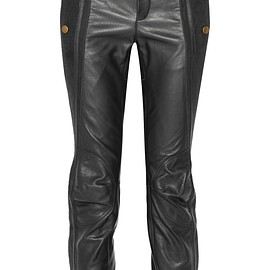 Chloé - Nubuck-trimmed leather slim-leg pants