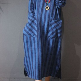 DRESS - Blue maxi dress, linen maxi dress, cotton dress long, linen kaftan Oversize dress