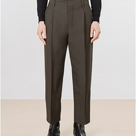 LEMAIRE - PLEATED PANTS COTTON WOOL GABARDINE WOVEN IN ITALY  OLIVE