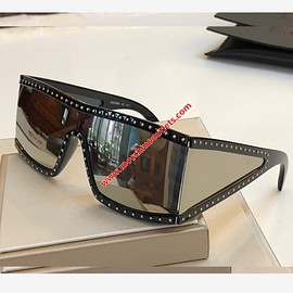 MOSCHINO - Moschino Rectangular Studded Sunglasses Black