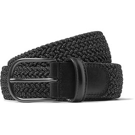 Anderson's - 3cm Grey Leather-Trimmed Woven Elastic Belt
