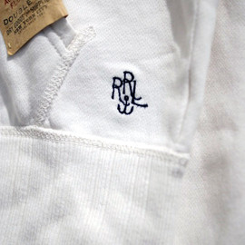 RRL - ANCHOR EMBROIDERY FULL-ZIP HOODED SWEATSHIRT (WHITE)