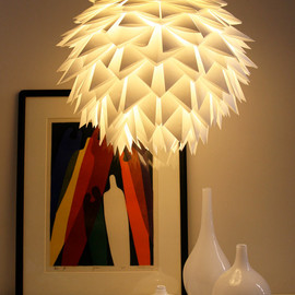 Zipper8Lighting - White Spiky Pendant Light - Overlapping Folds Origami Paper Hanging Lamp SHADE ONLY