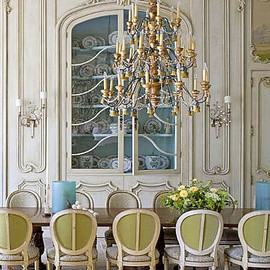neutral and french and the largest table and the biggest chandelier