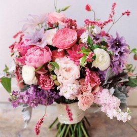 WEDDING - pink and purple bouquet, photo by Mikki Platt http://ruffledblog.com/barbie-inspired-wedding-ideas