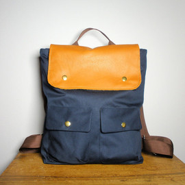 City Backpack in Navy Canvas/ Backpack/ Women/ Laptop Bag/ Tan Leather/ Handmade in New York/ Messenger/ Tote