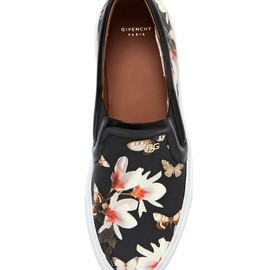 GIVENCHY - MAGNOLIA NAPPA LEATHER SLIP ON SNEAKERS