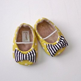 EDEN baby girl shoes- lime green polka dot with navy blue stripe bow via Etsy