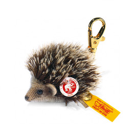 シュタイフ - Sniffy mohair hedgehog keyring - brown tipped - 6