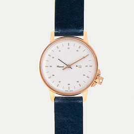 MIANSAI - M12 Swiss Rose|White on Leather Strap, Vintage Slate