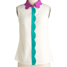 Petal Patch Top in Magenta - Blue, Purple, Scallops, Casual, Sleeveless, Mid-length, White, Buttons