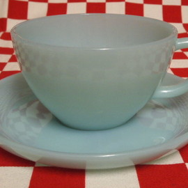 Fire King - Turquoise Blue Cup & Saucer #64