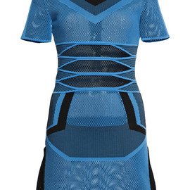 ALEXANDER WANG - SS2015 Air Force Bi Color Mesh Tee Dress With Engineered Stripes