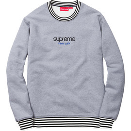 Supreme - Classic Logo Striped Rib Crewneck