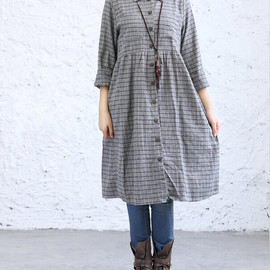 dress - comfortable plaid long dress