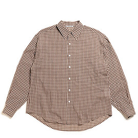 AURALEE - Super Light Check Big Shirts-Brown Gingham Check