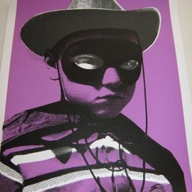 "Paul Insect - DJ Shadow Hand Pulled Silkscreen Print ""Big Head purple"""
