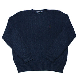 POLO RALPH LAUREN - Vintage Polo by Ralph Lauren Navy Blue 100% Silk Cable Knit Sweater Mens Size Large