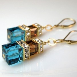 Teal & Chocolate Crystal Earrings....SO PRETTY!!!!