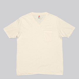 Hanes - V Neck T Shirt with Pocket-Ivory