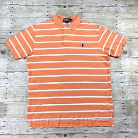 POLO RALPH LAUREN - Polo Ralph Lauren Peach / White Striped Polo Shirt Mens Size Large