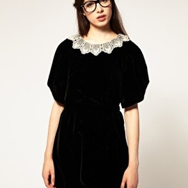 tba - Exclusive to ASOS Fine Lace Collar Velvet Dress