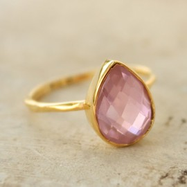 Gold Pink Quartz Ring