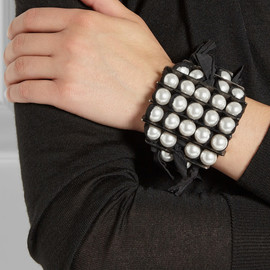 LANVIN - Leather and faux pearl bracelet