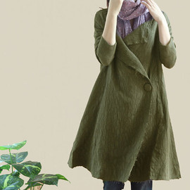 coat - Women long Coat Windbreaker/ one button Large lapel Long coat In Green