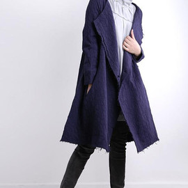MaLieb - one button Large lapel Purple Long Windbreaker coat
