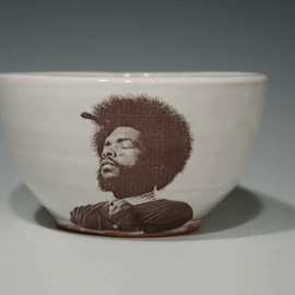 rothshank - Handmade Questlove bowl with white glaze