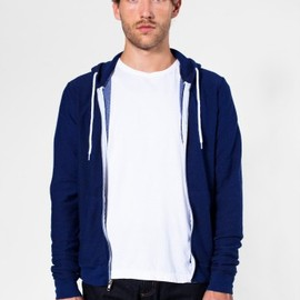 American Apparel - Salt and Pepper Zip Hoody Brushed Peppered Lapis