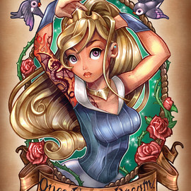 Tim Shumate - Once Upon A Dream (blue dress) Art Print