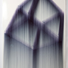 Evan Robarts - Cube No.5, 2011, marker, gloss medium on paper