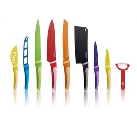 swiss Hufeisen - 10pcs Ceramic Coated Kitchen Knife Set with Bag,100% Bio Eco