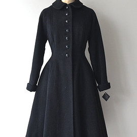 Bettina princess coat • vintage 1950s coat • black wool 50s coat