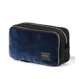 "HEAD PORTER - ""VELOURS"" COSMETIC CASE BLUE"