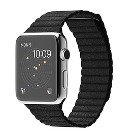 Apple - WATCH 42mm Stainless Steel Case with Black Leather Loop