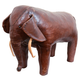 OMERSA COLLECTION - LEATHER FOOTSTOOL ELEPHANT