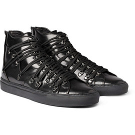 RAF SIMONS - Leather Lace-Strapped Sneakers