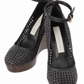 STELLA McCARTNEY - Black Basket Weave Ankle Strap Wedge